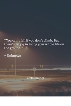 """You can't fall if you don't climb. But there's no joy in living your whole life on the ground.""   – Unknown"