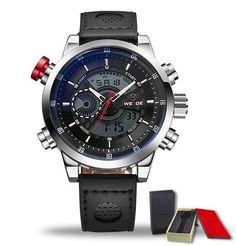 WEIDE Sport Men Fashion Wristwatches Luxury Famous Brand Men's Leather PU Strap Watch 30m Waterproof Casual Sports Watches