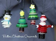 Christmas ornaments made of buttons...how cute and clever!