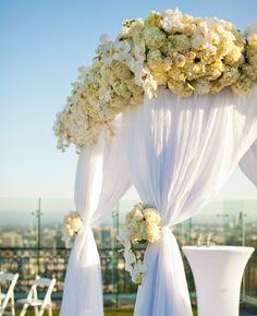 White wedding huppah   Embrace Life Photography