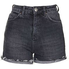 TopShop Moto Black Ecru Girlfriend Shorts ($40) ❤ liked on Polyvore featuring shorts, bottoms, pants, washed black, bleached shorts, high waisted cotton shorts, highwaist shorts, topshop shorts and bleached high waisted shorts
