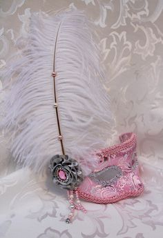 Pink And Silver Brocade Mask White Ostrich Feather by DaraGallery.deviantart.com on @DeviantArt