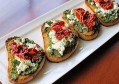 Tomato And Fresh Basil Crostini With Feta And Roasted Garlic Cheese ...