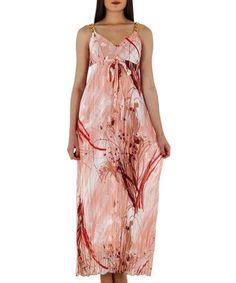 Look at this #zulilyfind! Pomegranate & Gold Floral Crepe Chain-Strap Maxi Dress by Merdor #zulilyfinds