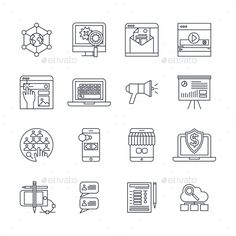 Digital Marketing Linear Icons Set by VectorPot Digital marketing linear icons set with social media payment system cloud services customer feedback isolated vector illustration.