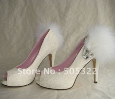 JWS194 Free shipping Custom made new design peep toe bridal  ivory lace wedding shoes with feather $128.00