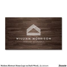 Modern Abstract Home Logo on Dark Woodgrain Business Cards for Architects…