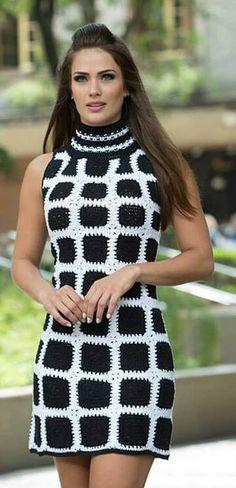 Bílo-Černé Kostkované Šaty-Návod