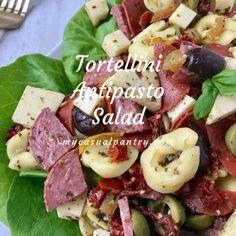 Tortellini Antipasto Salad   My Casual Pantry Antipasto Salad, Antipasto Platter, Spanish Tapas, Spanish Food, Pesto Vinaigrette, Gourmet Desserts, Plated Desserts, Turkey Pepperoni, Creamy Potato Salad