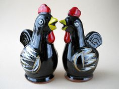 Vintage Black Chickens Salt and Pepper Shakers.  via Etsy.