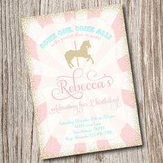 Vintage Pony Party, Carousel, Horse, Carnival, Circus Birthday Invitation