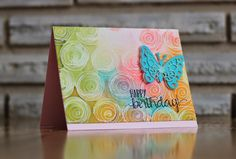 Favorite Flowers: SSS, heat embossed circles, distress ink on craft mat/sprayed with water, laid card front, used hot iron to remove embossing, Just Another Card making Blog: