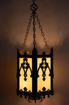 Large Slag Glass Chandelier Or Pendant Light From Church W Gothic Details |  EBay