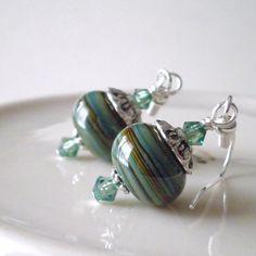 Lampwork Earrings Glass Bead Jewelry Green and by FiveLittleGems