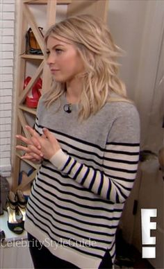 Seen on Celebrity Style Guide: Julianne Hough wore this colorblock split hem cashmere sweater a during an interview with E! News....Get It Here: http://rstyle.me/~1bYnZ