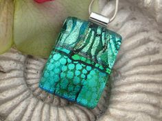 Dichroic Fused Glass Jewelry - Emerald Necklace - Green Dichroic Jewelry - Fused Dichroic GlassNecklace 081312p106. $28.00, via Etsy.