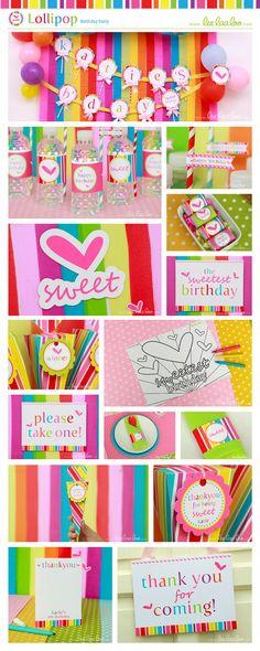 Lollipop Birthday Party Invitation Personalized by LeeLaaLoo, $12.00