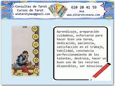 Los Menores del Tarot: OCHO DE OROS Tarot Significado, Tarot Gratis, Tarot Cards, Witches, Books, Spirituality, Tarot Spreads, Palmistry, Tarot Spreads