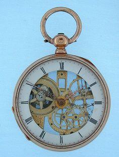 Fine slim Swiss 18K gold skeletonized pocket watch by Bornand circa 1850  ♥♥♥♥