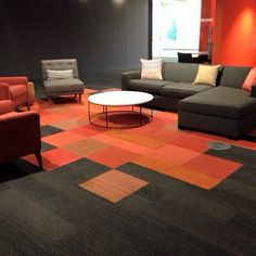 graphite skinny plank orange squares gettheskinny skinnyplanks interfacecarpet - Carpet Tile Design Ideas