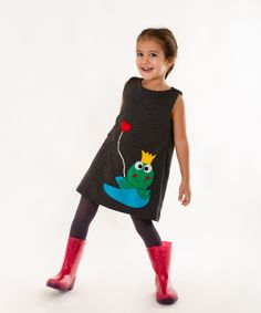 Frog applique dress,handmade felt dress,girls dress,children clothing,special dresses,baby girls