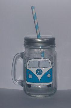 Hand painted camper van drinking jar. by BeUniqueCrafting on Etsy