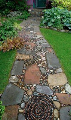 bohemian, boho, home, mosaic, walkway