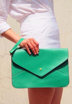 Oversize Vegan Leather Envelope Clutch  Green by EastWorkshop, $9.98