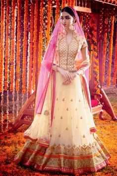 Cream Net Bridal Lehenga
