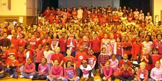 """Students at Golda Meir School showed their commitment to be bully-free by wearing red or pink on Valentine's Day. """"Have a Heart Day"""" promoted the idea that kindness is key to a caring and safe school culture. Students from Ms. Fecteau's fourth grade class organized the day, from generating publicity to calculating percentage of participation for each homeroom.  """"My students provided a valuable service to the school and engaged in authentic learning in the process,"""" said Ms. Fecteau."""