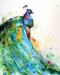 Beautiful watercolor peacock