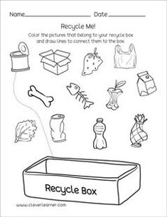 Waste Recycle Worksheets for kindergartens - Modern Free Kindergarten Worksheets, Science Worksheets, Kindergarten Science, Worksheets For Kids, Earth Day Worksheets, Earth Day Activities, Preschool Activities, Recycling Activities For Kids, Creative Curriculum