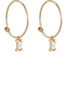 We Adore: The Baguette White Diamond Hoop Earrings from Ileana Makri at Barneys New York