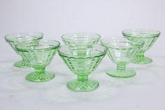 6 Block Optic Uranium Vaseline Glass Sherbets Anchor Hocking Depression Glass