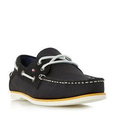 Tommy Hilfiger Deck 4d mixed white sole boat shoes, Black