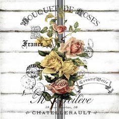 Bouquet de rosas francês Vintage Grande A4 Download imediato Digital Impressão Gráfica Ferro em transferência chique Decoupage cartão da colagem da Tag