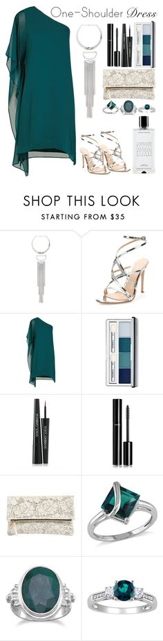 """""""Teal One Shoulder"""" by mystic-punk ❤ liked on Polyvore featuring Bebe, Gianvito Rossi, BCBGMAXAZRIA, Clinique, Dolce&Gabbana, Chanel, Clare V., Amour, BillyTheTree and Agonist"""