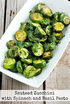 You'll get all the fantastic flavors of summer in this Low-Carb Sauteed Zucchini with Spinach and Basil Pesto, and this post also has ten more Meatless Monday recipes using zucchini. [from KalynsKitchen.com