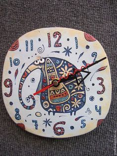 ceramic clock Elephant by fishinthecloud on Etsy Clock Painting, Dot Art Painting, Pottery Painting, Ceramic Clay, Ceramic Pottery, Pallet Clock, Diy Clock, Clock Ideas, Glass Fusing Projects