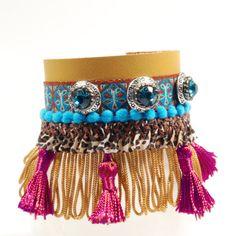 Ibiza leren armband  - leren armband gekleurd met franje en Swarovski - hippie stijl - exclusieve handgemaakte sieraden, Catena, cadeaus