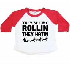 The Original Gangsta. This ultrasoft Red and White Raglan will have you all warm and cozy this Christmas Season. Matching adult tees available in separate listing. Our tees are screen printe Christmas Shirts For Kids, Christmas Vinyl, Christmas Door Wreaths, Xmas Shirts, Vinyl Shirts, Christmas Toys, Christmas Humor, Ugly Christmas Sweater, Christmas Decorations