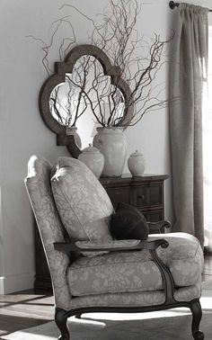lovely grey chair and walls with quatrefoil framed mirror similar to dadu0027s chair idea for when time to recover it