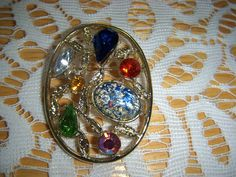Gorgeous VINTAGE  multi color rhinestone brooch pin Exquisite #Unbranded