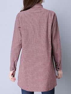 Plaid Print Bowknot Irregular Long Sleeve Blouses For Women
