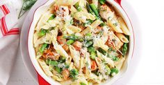 Whip up a delicious 30-minute meal the whole family will enjoy with this creamy chicken, asparagus and bean pasta dish.