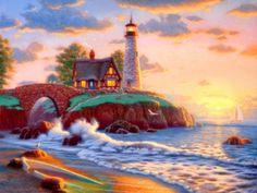 Lighthouse Point - Lighthouse, Sea, Point, Sun, Fiery, Cloud, Ray, Water, Shine, Beach