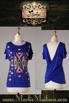Tempo Top in Royal Blue http://www.marliemadison.com/tops/tempo-top