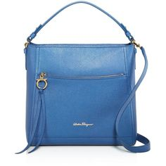Salvatore Ferragamo Ally Medium Leather Hobo ($1,305) ❤ liked on Polyvore featuring bags, handbags, shoulder bags, hobo handbags, leather purses, blue leather purse, blue leather handbags and leather hobo purses