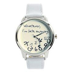 ZIZ White Whatever, I'm Late Anyway Watch Unisex Wrist Watch, Quartz Analog Watch with Leather Band ZIZ http://smile.amazon.com/dp/B00NPA4FRQ/ref=cm_sw_r_pi_dp_QF5kvb11C3VJ6