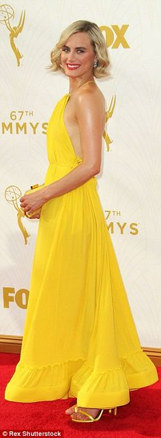 Taylor Schilling stuns in backless yellow dress at Emmys #dailymail